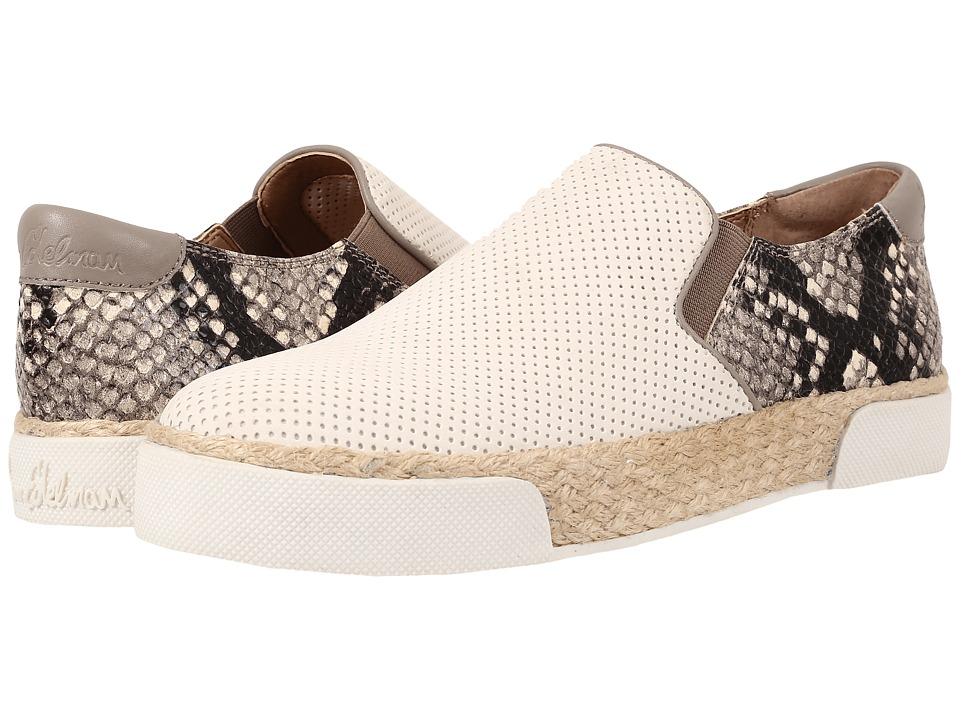 Womens Shoes Sam Edelman Banks Bright White/Putty Suede Perf/Shiny Burmese Python Print