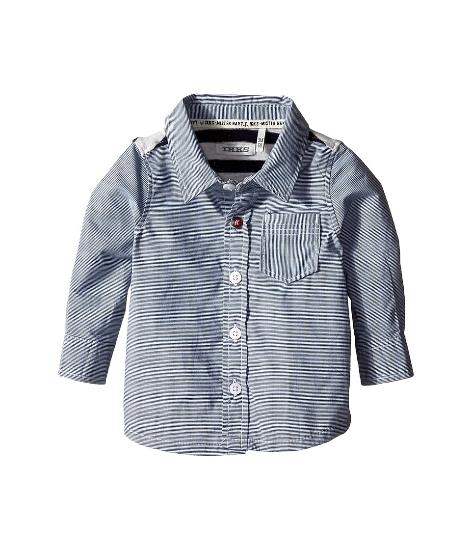 IKKS - Button Up Shirt with Striped Knit Jersey Back (Infant/Toddler) (Bleu Raye) Boy's Clothing