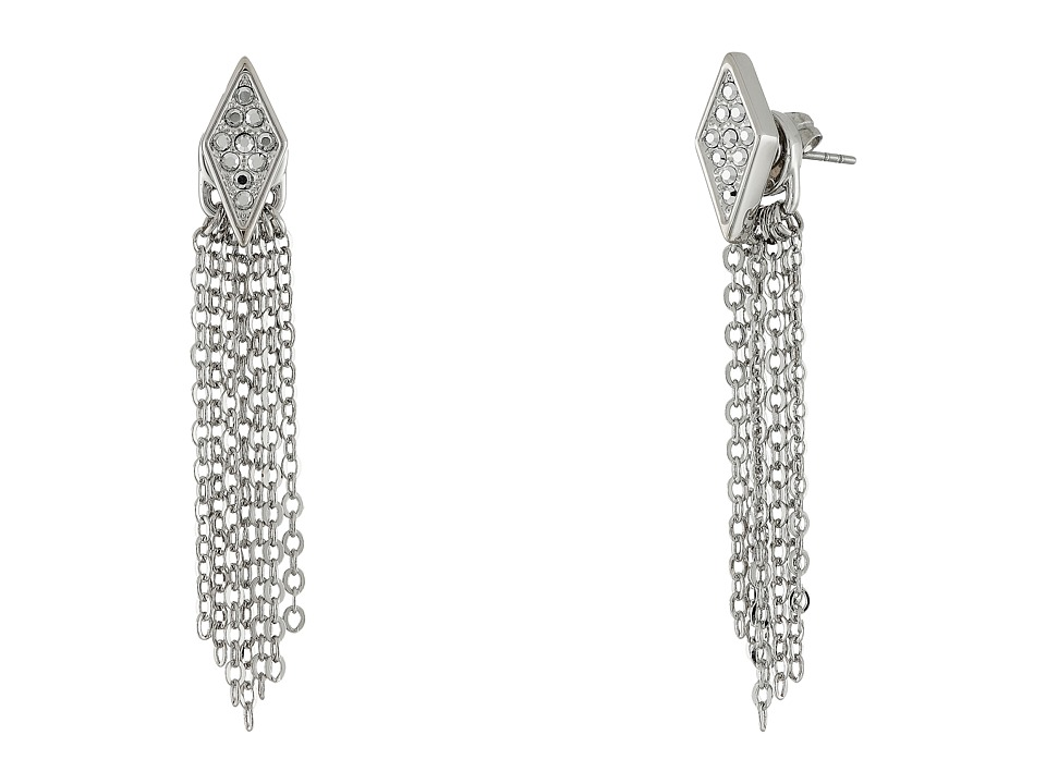 Rebecca Minkoff - Diamond Pave Fringe Front to Back Earrings (Imitation Rhodium/Crystal Lab) Earring