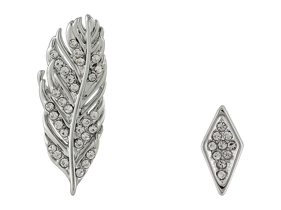 Rebecca Minkoff - Feather Ear Climber Mismatch Earrings (Imitation Rhodium/Crystal Lab) Earring