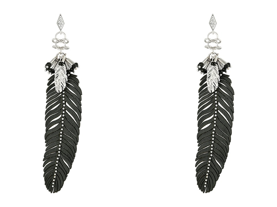 Rebecca Minkoff - Leather Feather Drop Earrings (Imitation Rhodium/Crystal Lab) Earring