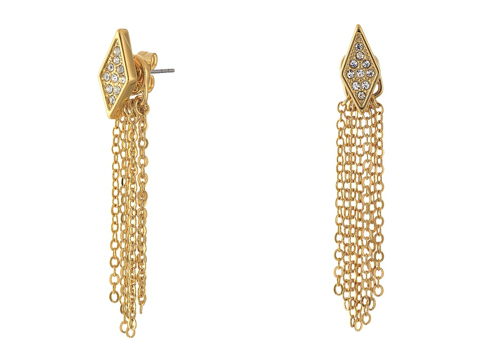 Rebecca Minkoff - Diamond Pave Fringe Front to Back Earrings (Gold Toned/Crystal) Earring