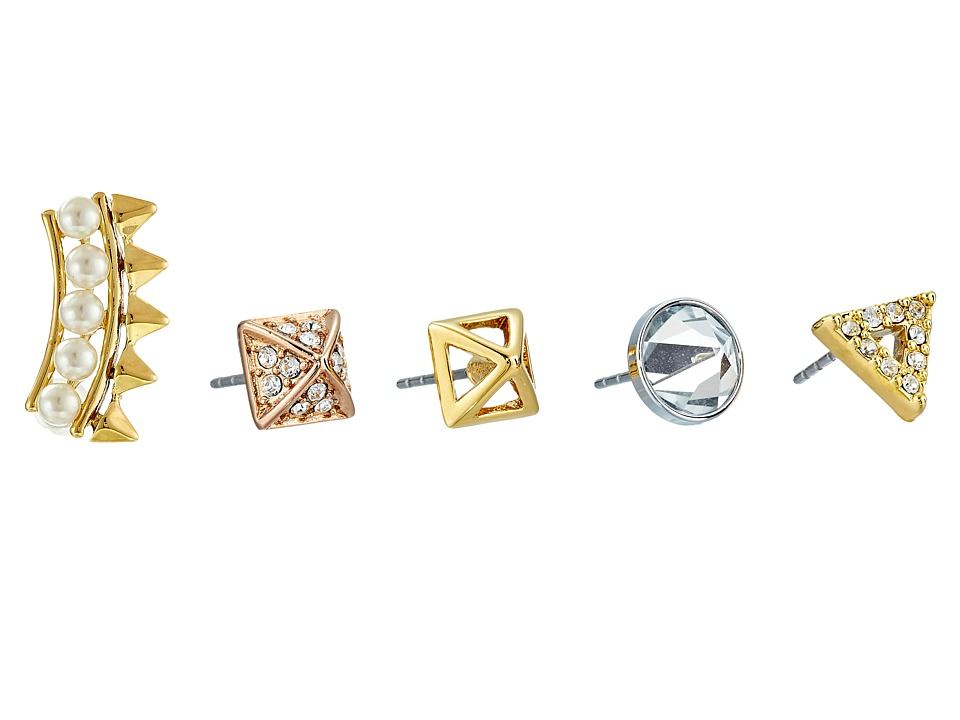 Rebecca Minkoff - Five-Piece Set - Triangle/Climber/Inverted/Pyramid Earrings (Mixed Metal/Material) Earring