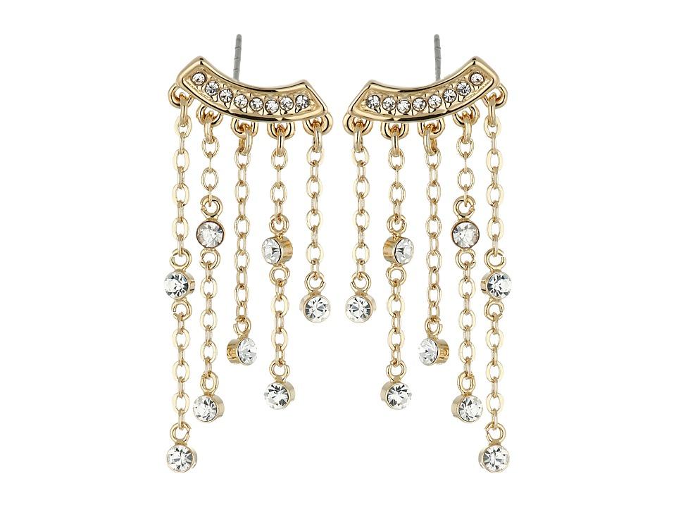 Rebecca Minkoff - Fringe Hoop Earrings (Gold Toned/Crystal) Earring