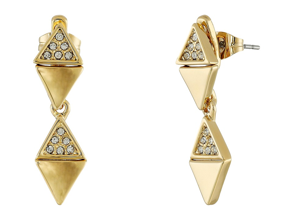 Rebecca Minkoff - Triangle Drop Front to Back Earrings (Gold Toned/Crystal) Earring