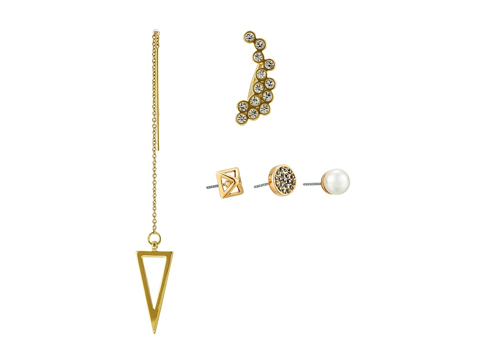 Rebecca Minkoff - Five-Piece Set - Threader/Pyramid/Disc/Stud/Climber Earrings (Gold Toned) Earring