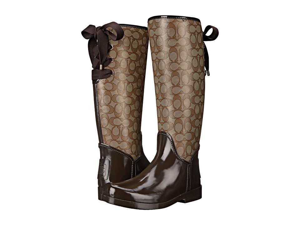 COACH - Tristee Outline (Khaki/Chestnut Outline Signature C/Rubber) Women's Rain Boots
