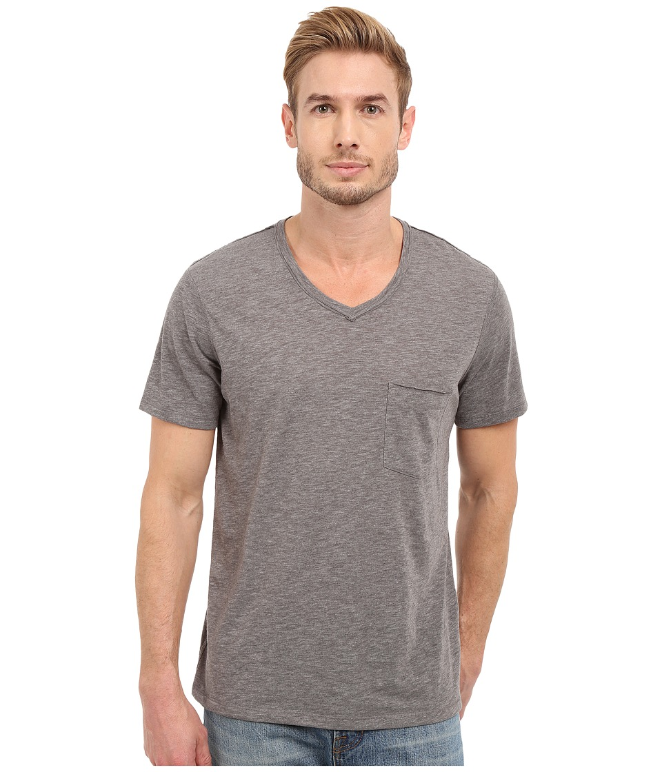 7 For All Mankind - Short Sleeve Raw V-Neck (Heather Grey) Men's T Shirt