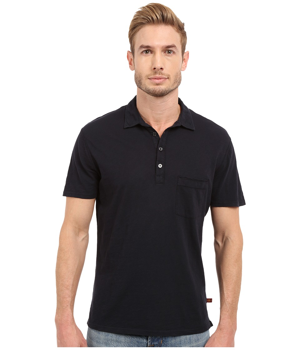 7 For All Mankind - Raw Placket Polo (Midnight Navy) Men's Short Sleeve Pullover