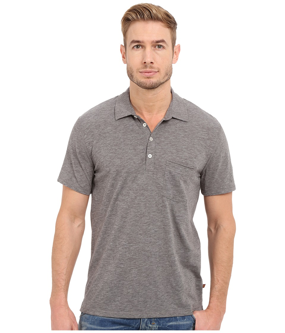 7 For All Mankind - Short Sleeve Raw Placket Polo (Heather Grey) Men's Short Sleeve Pullover