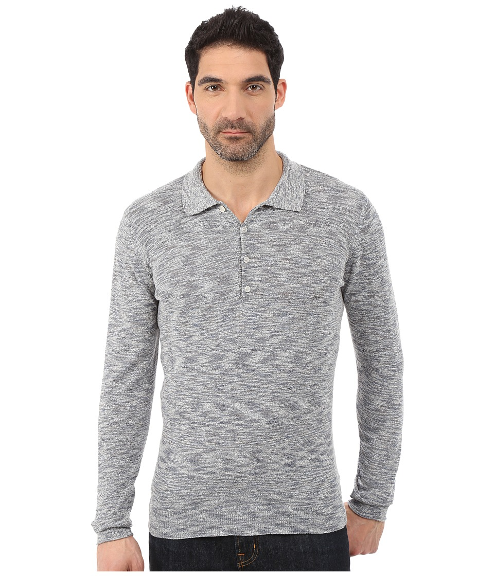 7 For All Mankind - Long Sleeve Polo Sweater (Heather Navy) Men