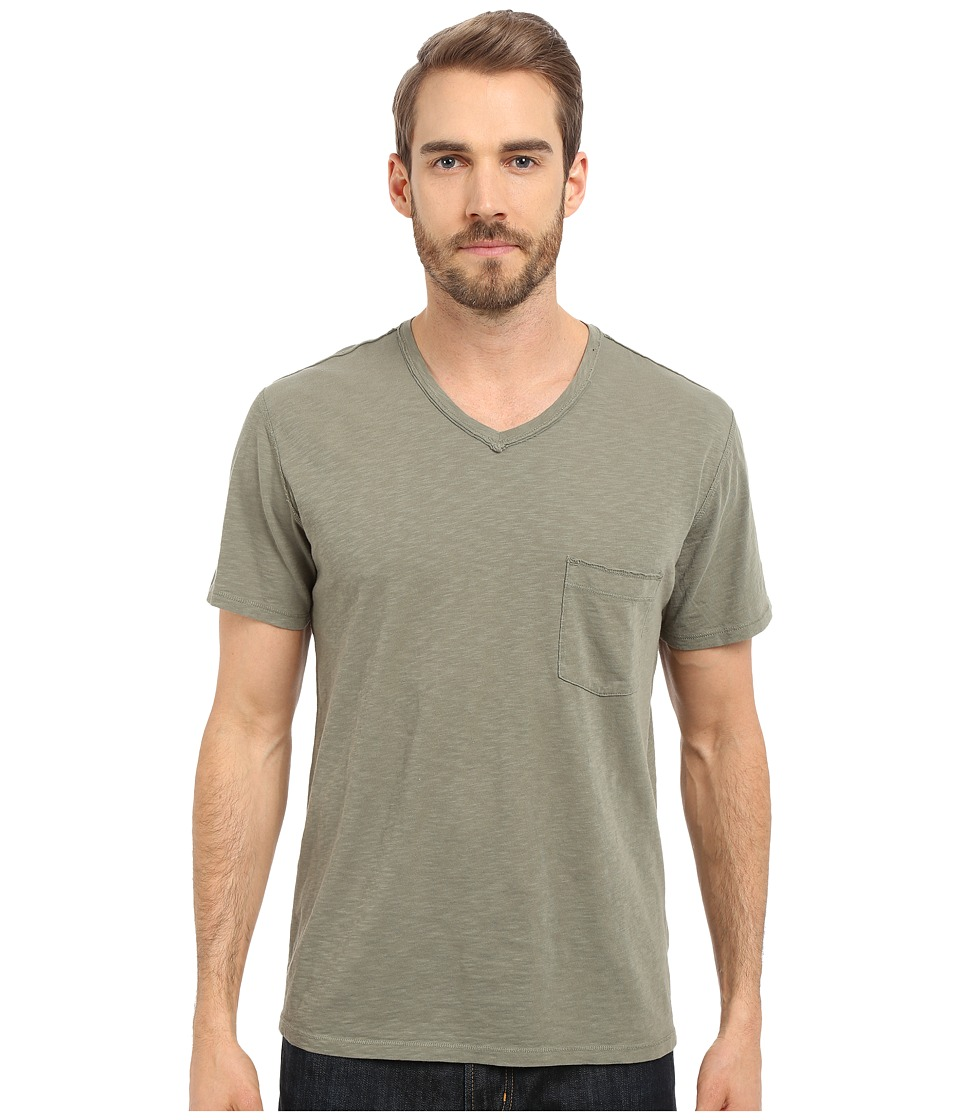 7 For All Mankind - Short Sleeve Raw V-Neck (Dark Sage) Men's Clothing