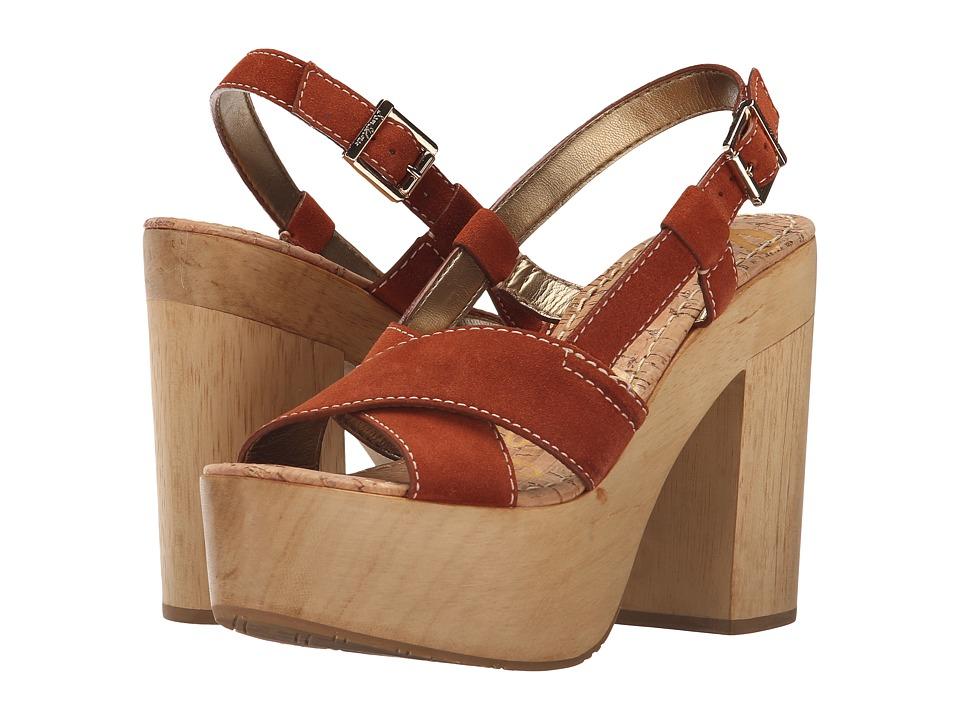 Sam Edelman Mae (Ginger Spice Velour Suede Leather) High Heels