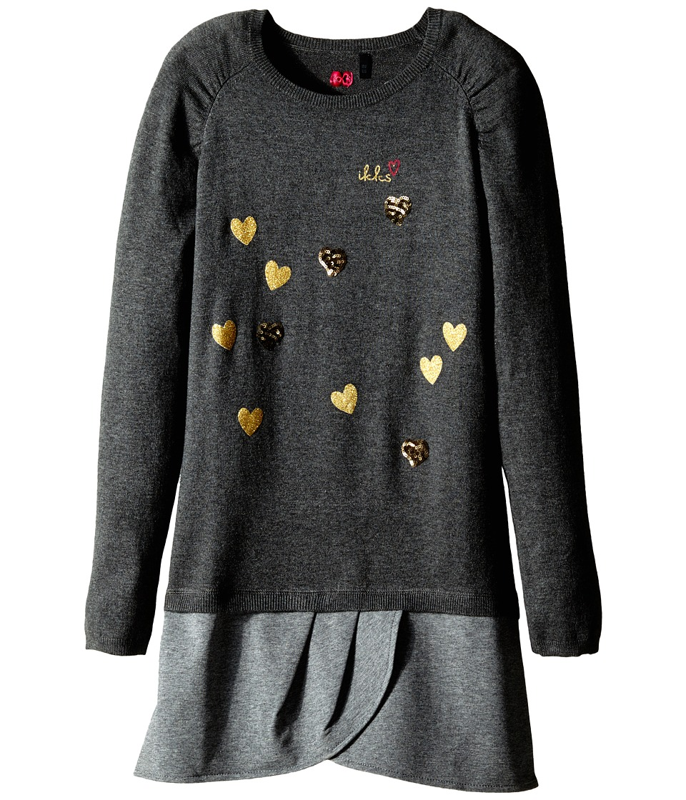 IKKS - Drop Waist Dress with Small Sequn Hearts (Little Kids/Big Kids) (Gris Anthracite) Girl's Dress
