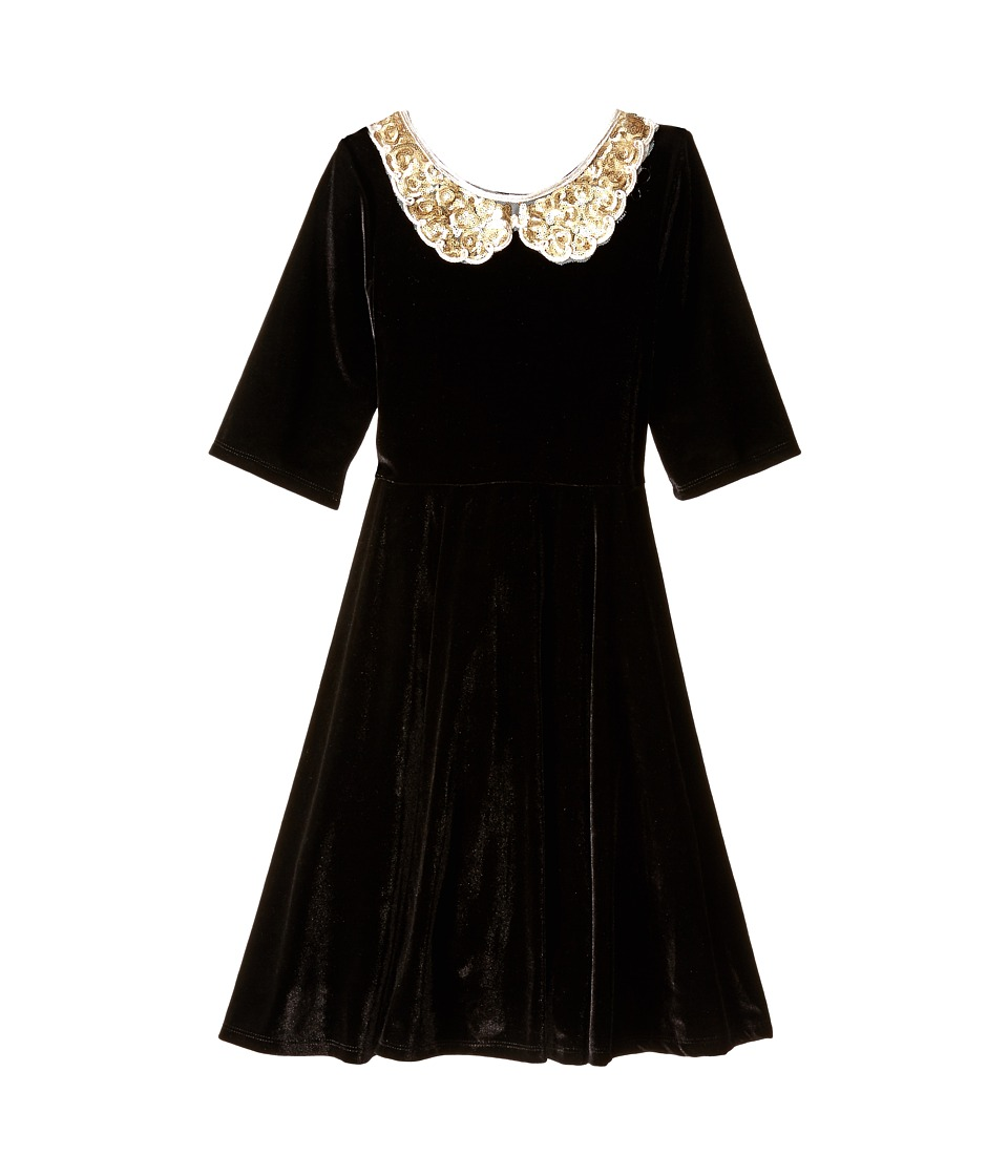 fiveloaves twofish - Velvet Gold Collar Skater Dress (Little Kids/Big Kids) (Black) Girl's Dress