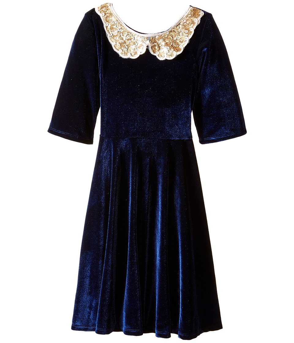 fiveloaves twofish - Velvet Gold Collar Skater Dress (Little Kids/Big Kids) (Navy) Girl's Dress
