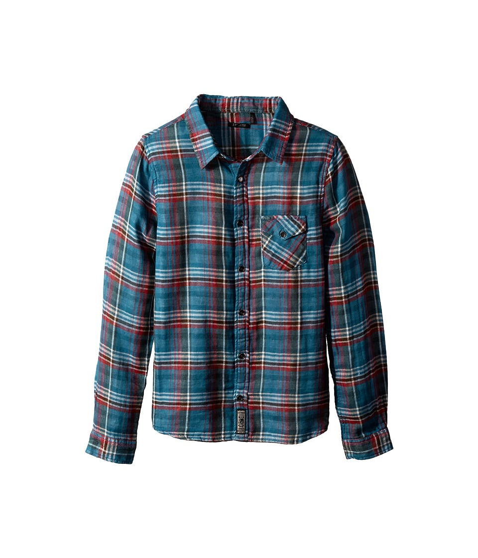 IKKS - Plaid Madras Shirt with Contrast Trim (Little Kids/Big Kids) (Bleu Carreaux) Girl's Long Sleeve Button Up