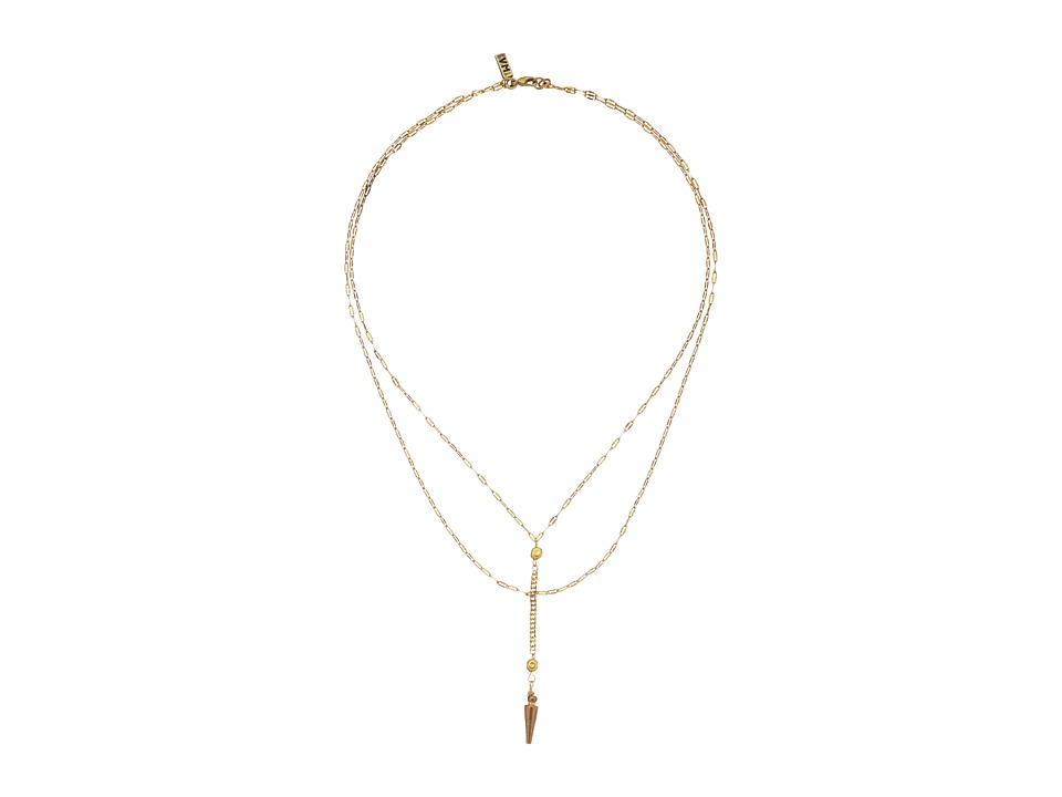 Vanessa Mooney - Long Nights Double Chain Dagger Necklace (Gold) Necklace