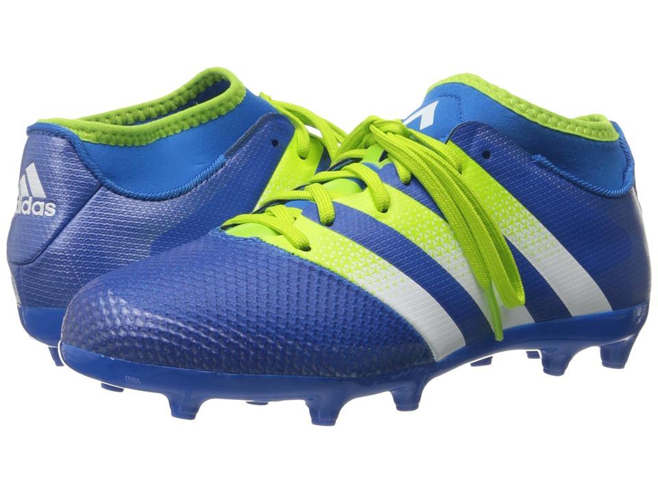 adidas Kids - Ace 16.3 Primemesh FG/AG Soccer (Little Kid/Big Kid) (Shock Blue/Semi Solar Slime/White) Kids Shoes