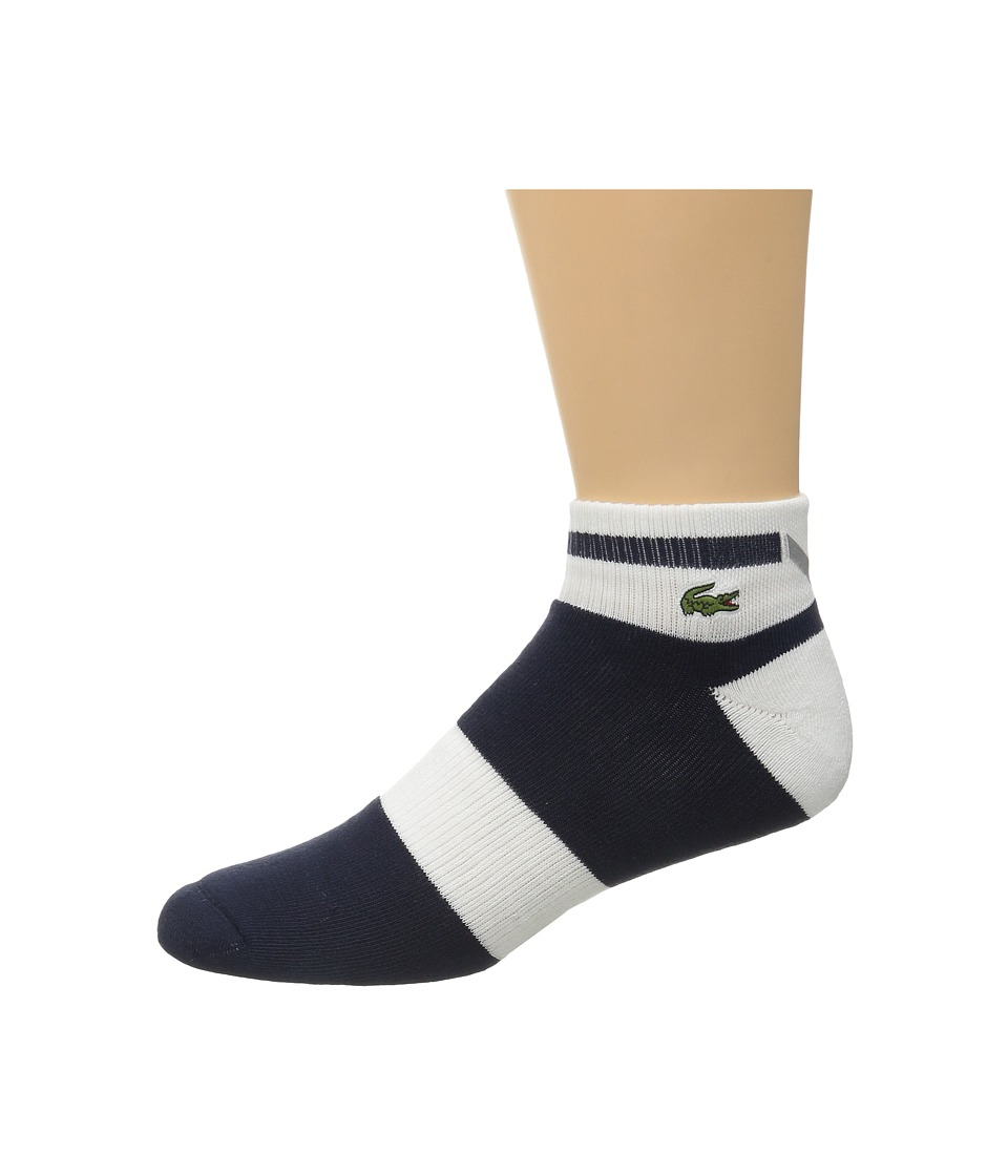 Lacoste - Sport Compression Ped Sock (Navy Blue/White/Navy Blue) Men's Quarter Length Socks Shoes