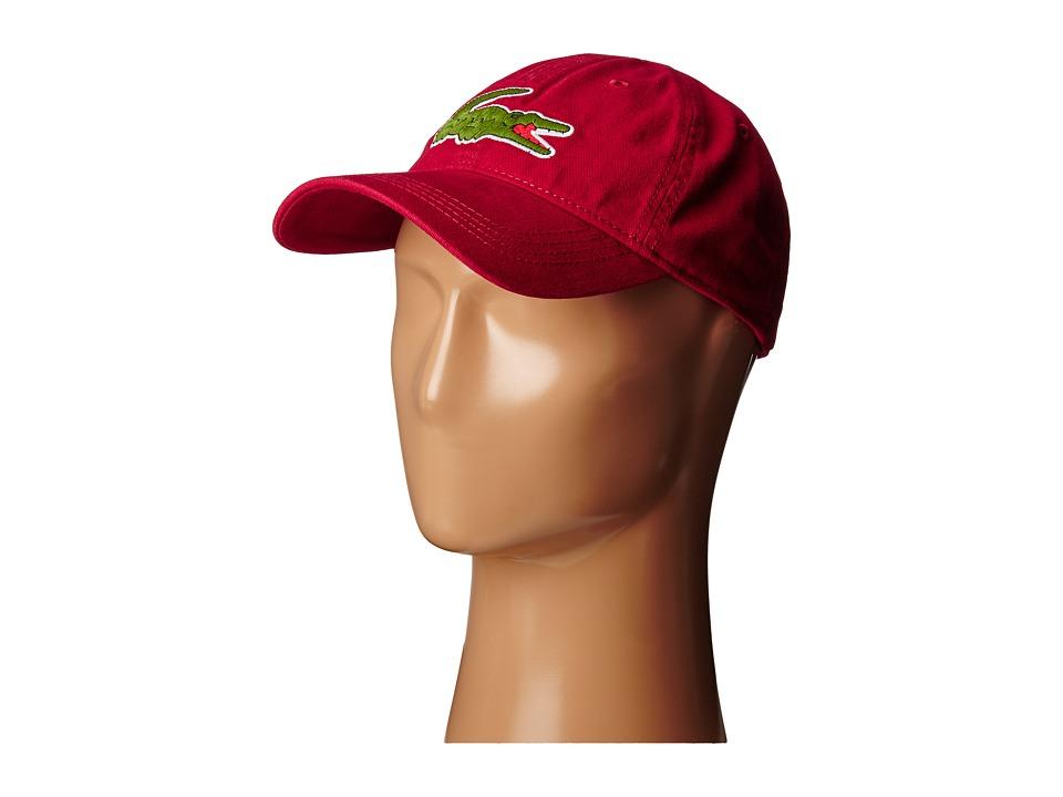 Lacoste - Big Croc Gabardine Cap (Bordeaux) Baseball Caps