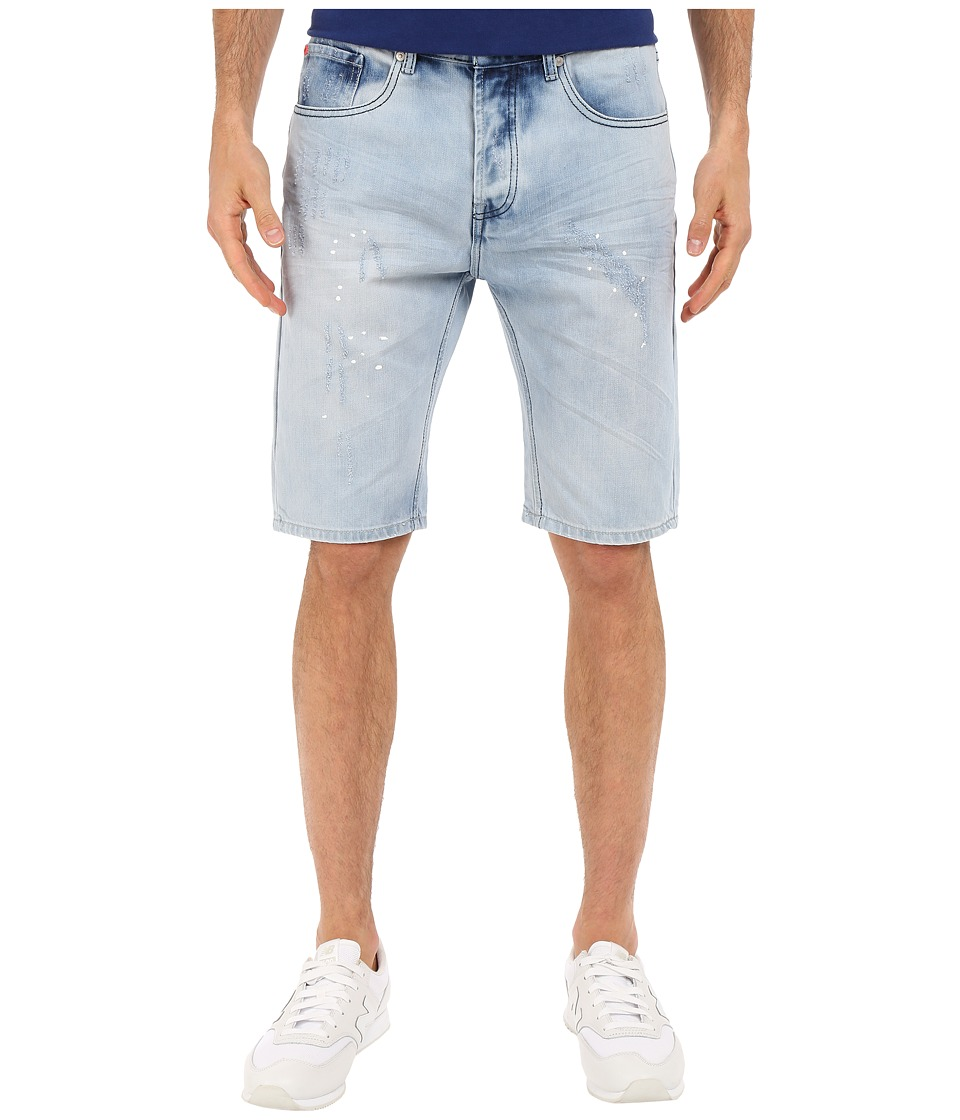 Staple - Splatter Denim Shorts in Light Stone Wash (Light Stone Wash) Men's Shorts