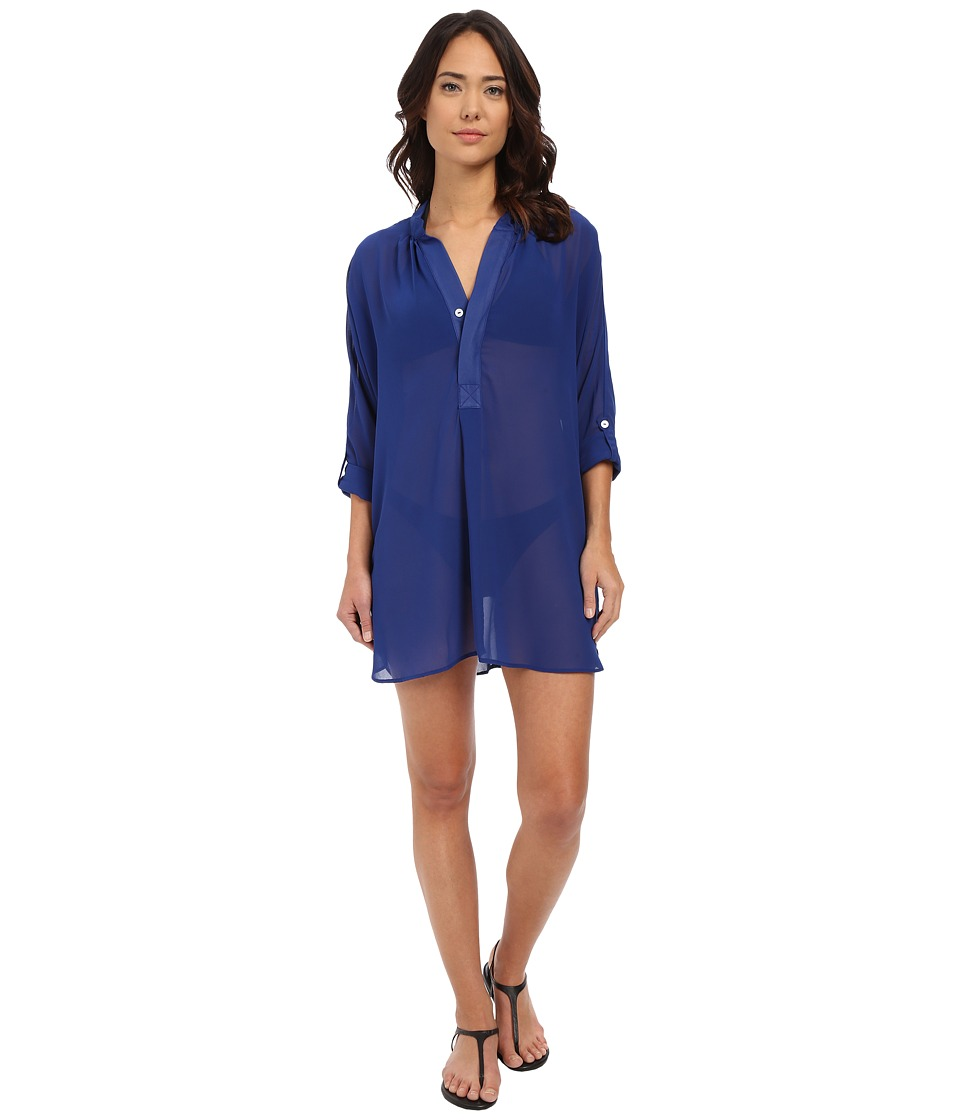 Tommy Bahama - Knit Chiffon Mandarin Collar Tunic Cover-Up (Mazarine Blue) Women's Swimwear
