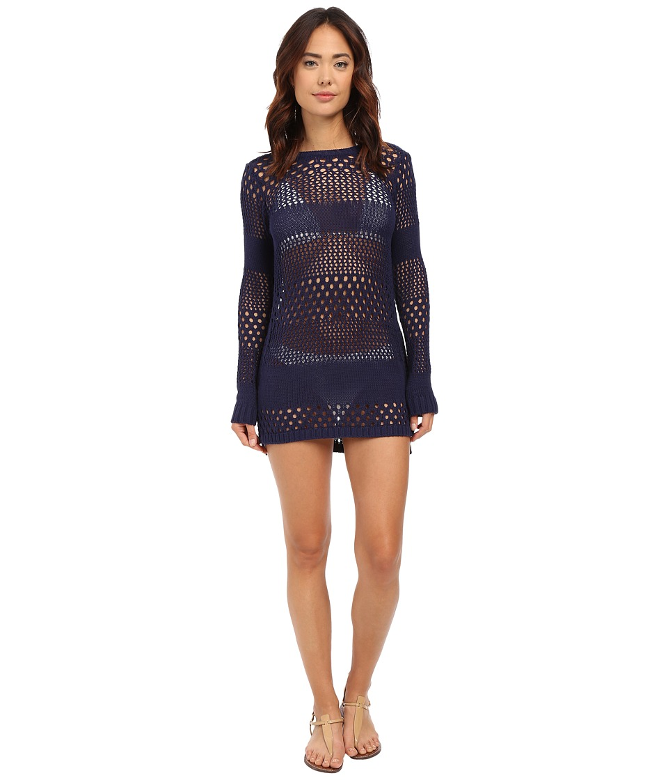 Tommy Bahama - Beach Sweater Open Weave Variegated Sweater w/ Side Zipper Cover-Up (Mare Navy) Women's Swimwear