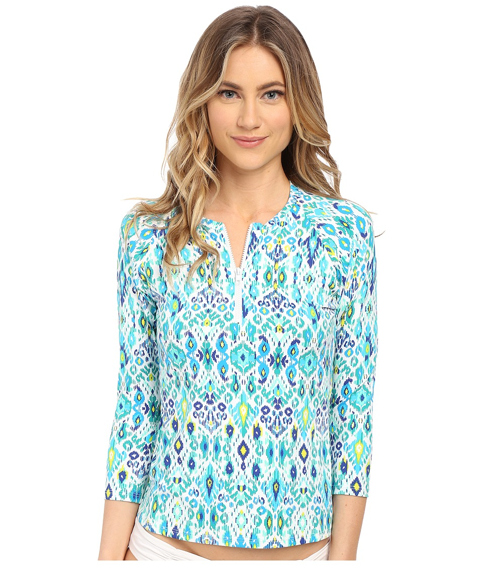 Tommy Bahama - Ikat 3/4 Sleeve 1/2 Zip Rashguard Cover-Up (Multicolor) Women's Swimwear