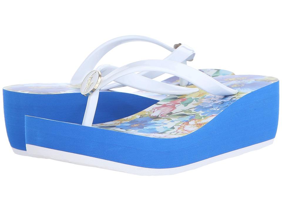 Polo Ralph Lauren Kids - Borolla II (Little Kid/Big Kid) (White/Blue Floral/China Blue Eva) Girls Shoes