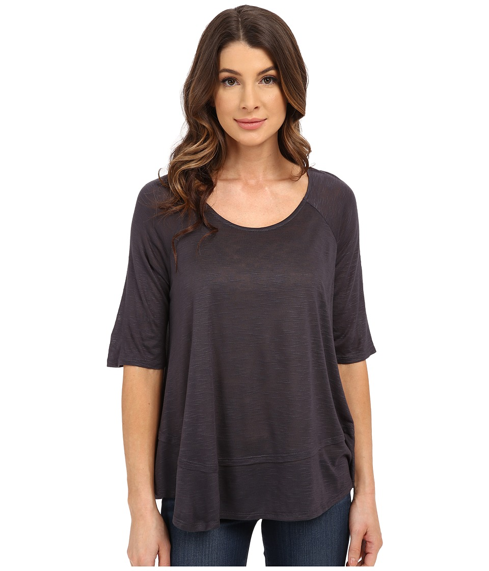B Collection by Bobeau - Oversized T-Shirt (Charcoal) Women's Short Sleeve Pullover