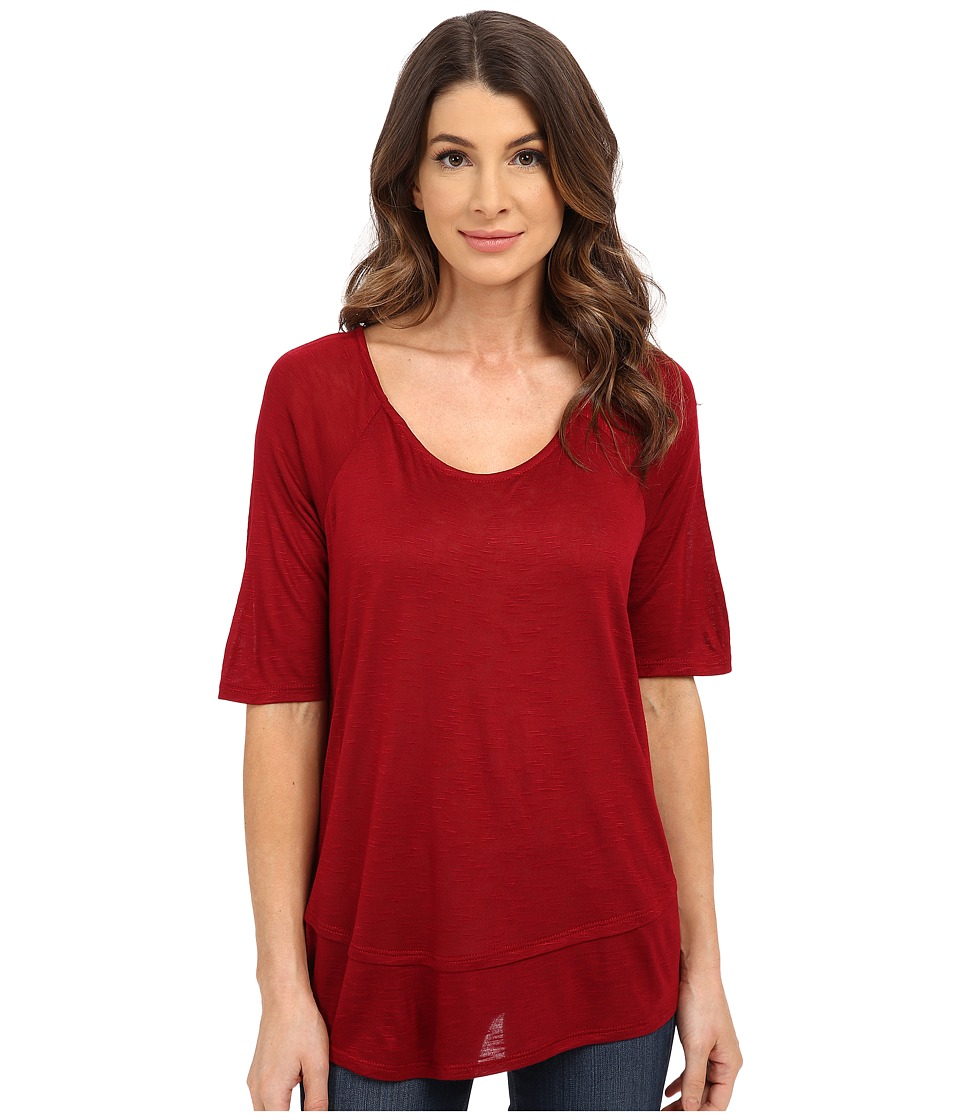 B Collection by Bobeau - Oversized T-Shirt (Red) Women's Short Sleeve Pullover