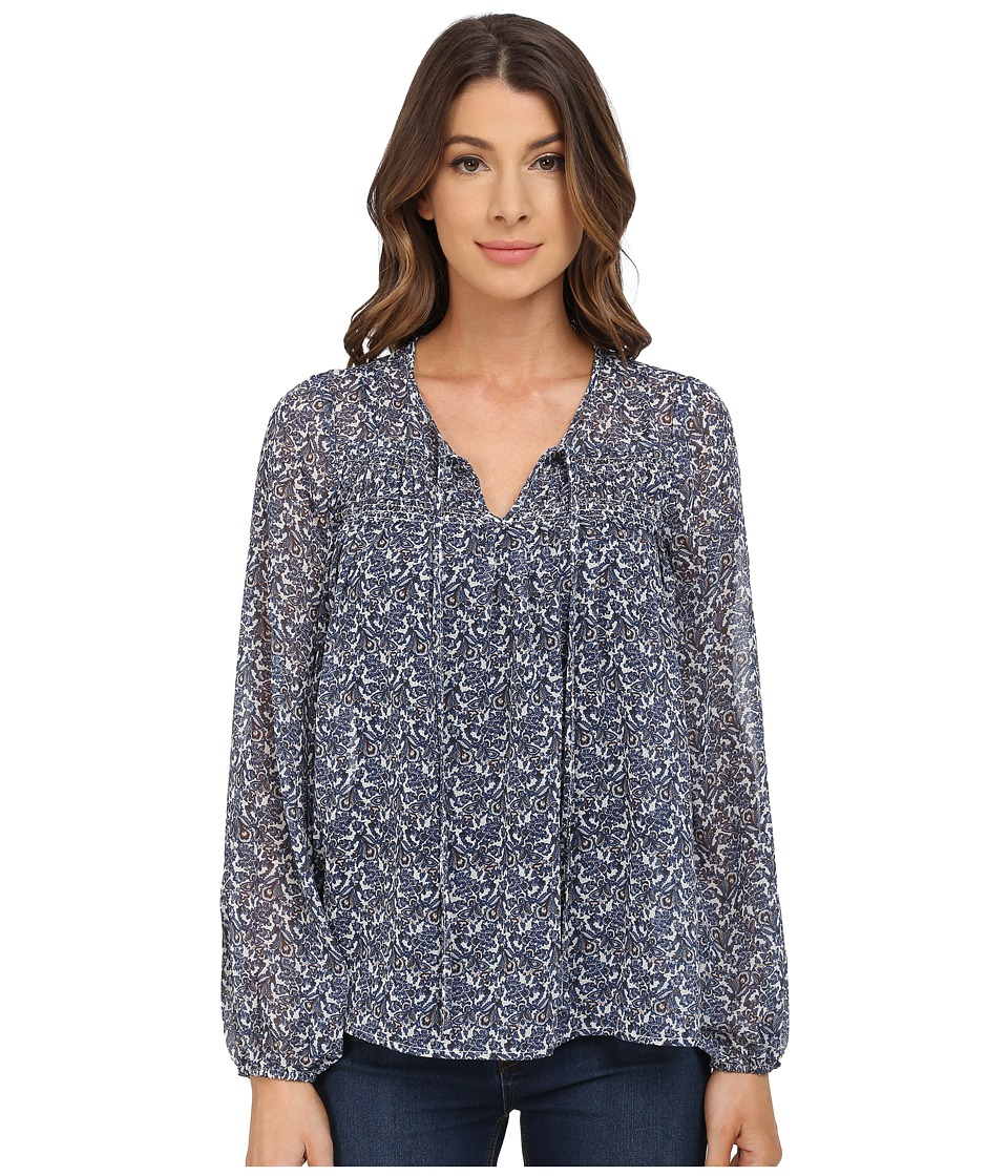 B Collection by Bobeau - Printed Blouse (Navy) Women's Blouse