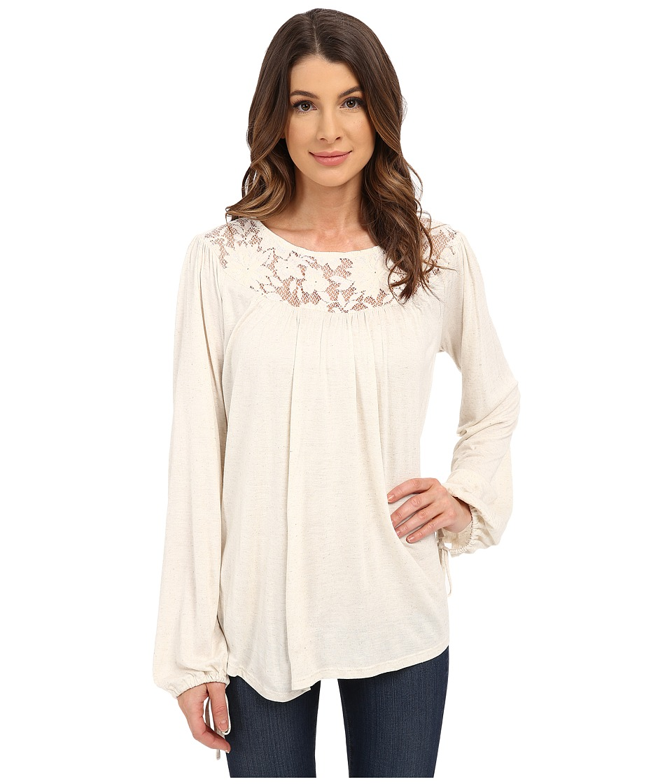 B Collection by Bobeau - Lace Yoke Blouse (Oatmeal) Women's Blouse