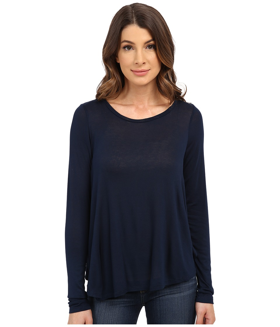B Collection by Bobeau - Pleat Back Knit T-Shirt (Navy) Women's T Shirt