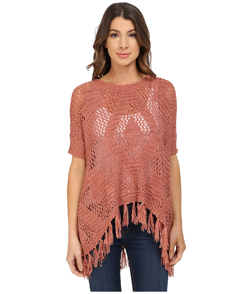 B Collection by Bobeau - Fringe Tape Yarn Sweater (Spice) Women