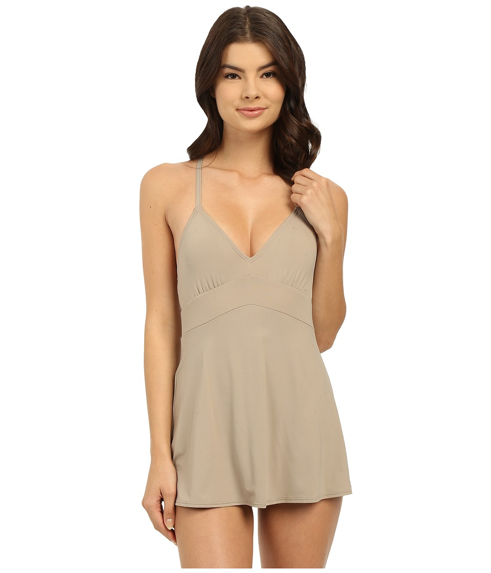 Vince Camuto - Fit and Flare Swimdress w/ Adjustable Straps and Removable Cups (Sandstone) Women's Swimsuits One Piece