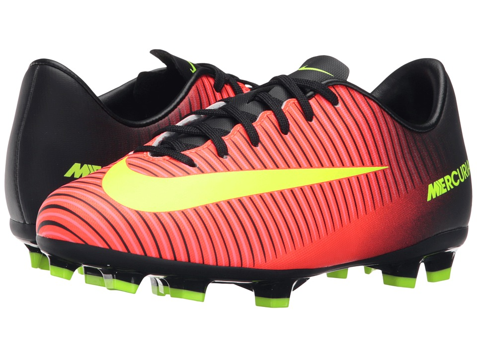 Nike Kids - JR Mercurial Vapor XI FG Soccer (Toddler/Little Kid/Big Kid) (Total Crimson/Black/Pink Blast/Volt) Kids Shoes