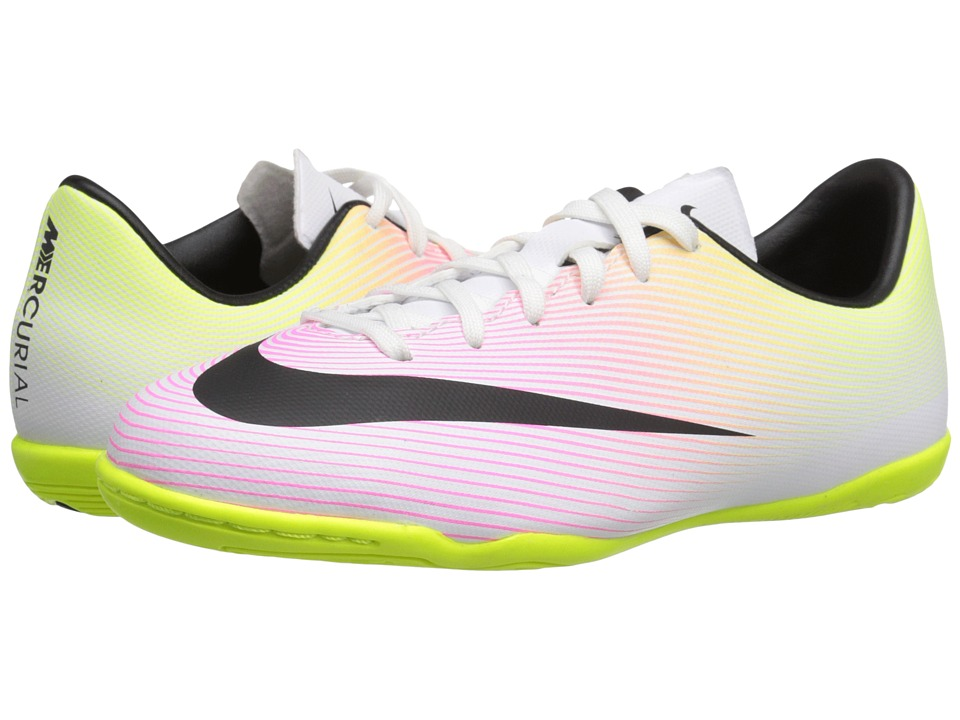 Nike Kids - Jr Mercurial Victory Indoor Soccer (Toddler/Little Kid/Big Kid) (White/Volt/Total Orange/Black) Kids Shoes