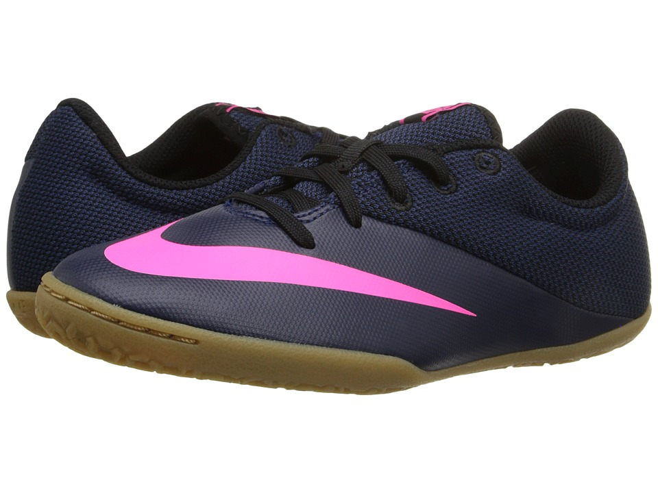 Nike Kids - Jr Mercurial Pro IC Soccer (Little Kid/Big Kid) (Midnight Navy/Pink Blast/Racer Blue/Midnight Navy) Kids Shoes