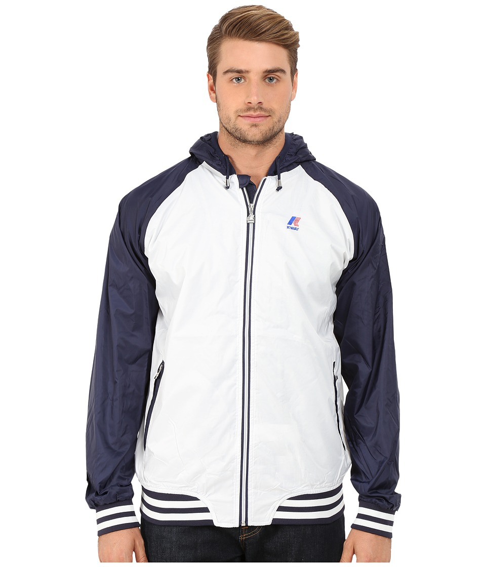 K-WAY - Jimmy College Jacket (White/Navy) Men's Coat