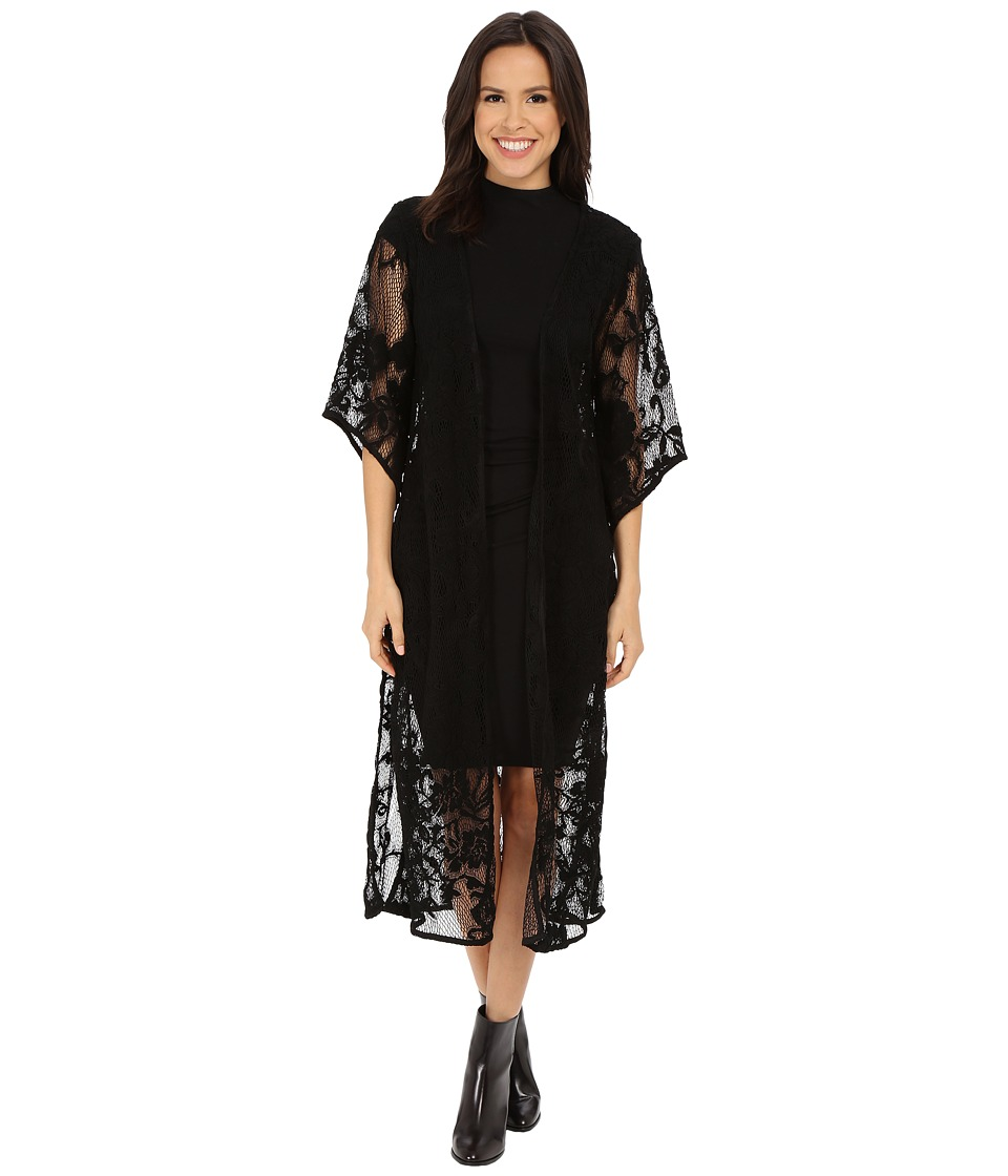 Brigitte Bailey - Zoranna Lace Long Cardigan (Black) Women's Sweater