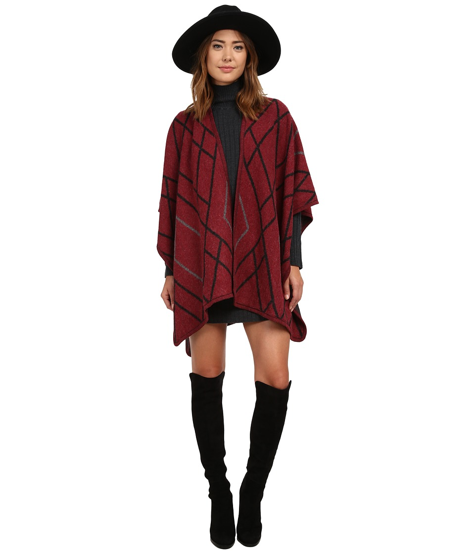 Brigitte Bailey - Kaylee Poncho (Burgundy) Women's Coat