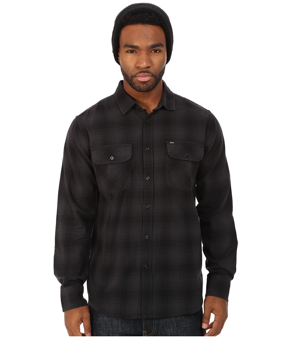 Obey - Huddle Long Sleeve Woven Shirt (Black Multi) Men's Long Sleeve Pullover