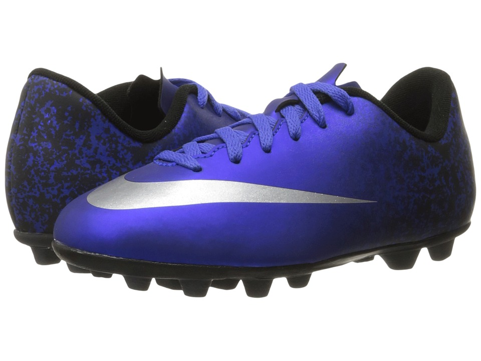 Nike Kids - Jr Mercurial Vortex II CR FG-R Soccer (Little Kid/Big Kid) (Deep Royal Blue/Racer Blue/Black/Metallic Silver) Kids Shoes