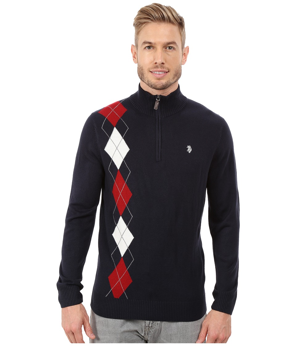 U.S. POLO ASSN. - 1/4 Zip Argyle Sweater (Navy 2) Men's Sweater