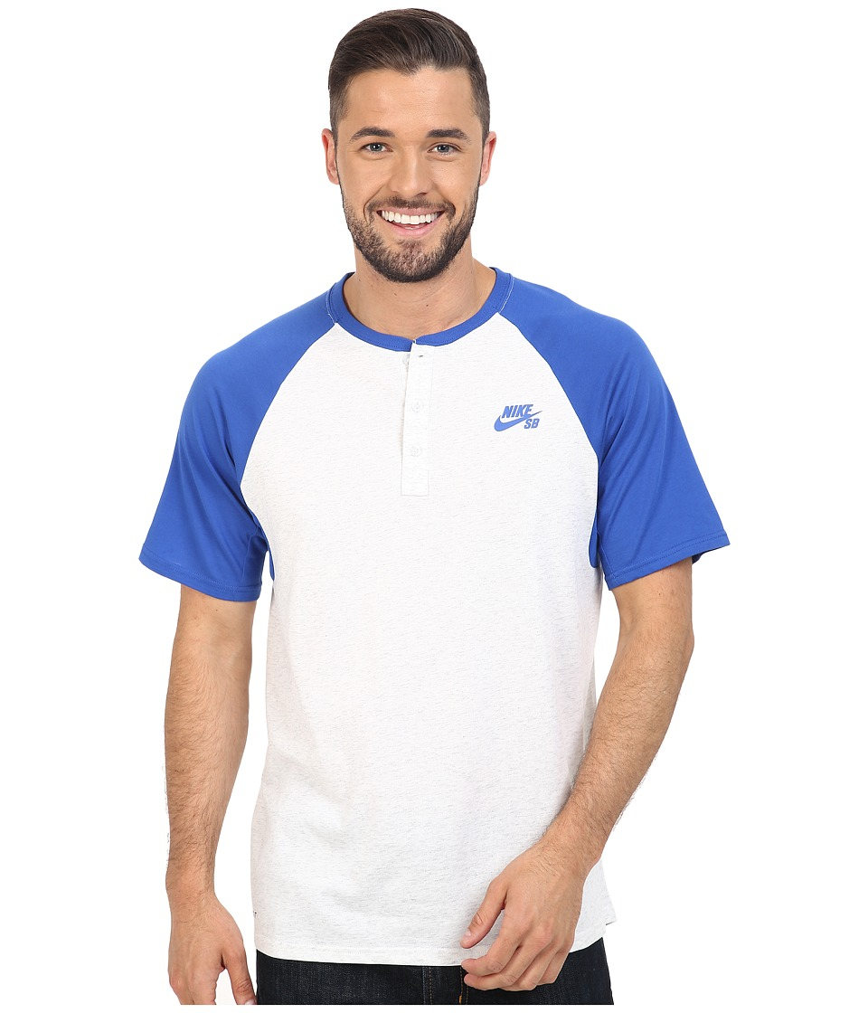 Nike SB - SB Dri-FIT Henley (Game Royal/Birch Heather/Game Royal) Men's Short Sleeve Pullover
