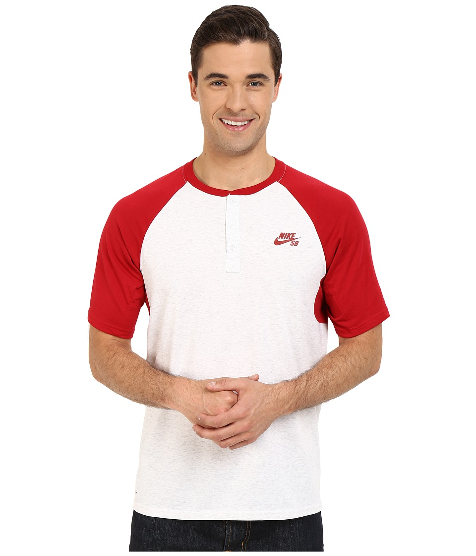 Nike SB - SB Dri-FIT Henley (Gym Red/Birch Heather/Gym Red) Men's Short Sleeve Pullover
