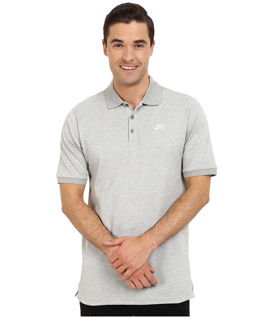 Nike SB - SB Dri-FIT Pique Polo (Dark Grey Heather/White) Men's Clothing