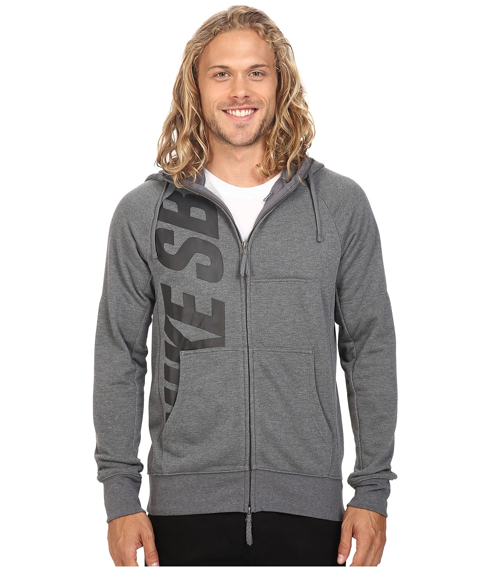 Nike SB - SB Lightweight Everett Dri-FIT Full Zip Hoodie (Charcoal Heather/Black) Men's Sweatshirt